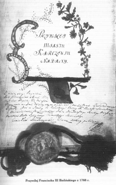 Przywilej dla Karczewa z1768 r.